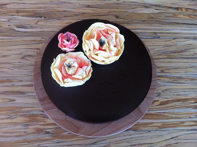 Chocolate ganache cake with gum paste flowers