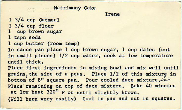 yesterdish.com » Matrimony Cake reminds me of bars i use to make from a box!