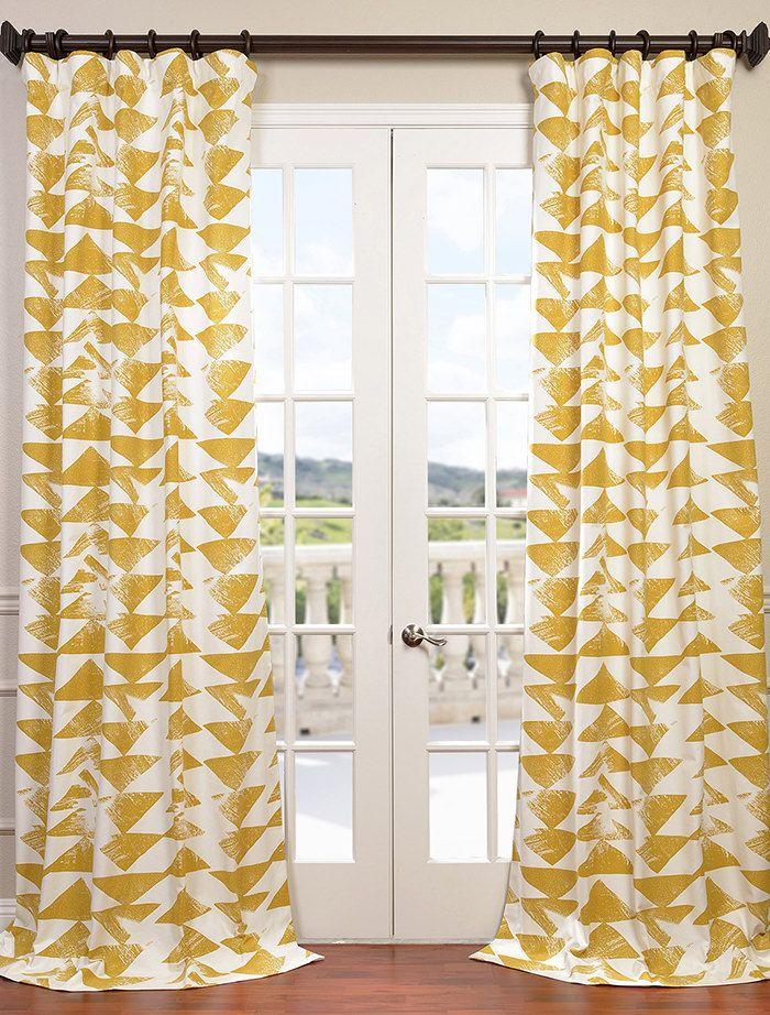 Eff Triad Gold Printed Cotton Twill Curtain