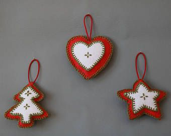 Set of Three Red and White Felt Christmas Decorations with Green Stitching
