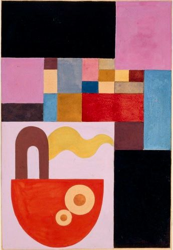 """By Sophie Taeuber-Arp (1889-1943), 1917, Le bateau (The boat), gouache on paper. (During a stay in Hamburg, she become familiar with the aesthetics of the """"Wiener Werkstätten"""" and Norwegian folk tapestries. These two sources gave to her work the brightness of the colors.)"""