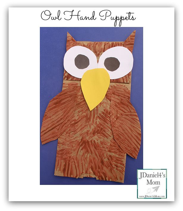 Owl Hand Puppet- Fun craft that would be great for retelling a book or poem with an owl theme.