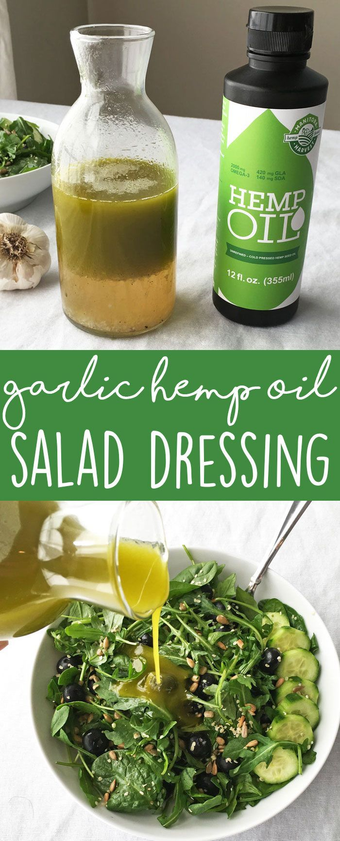 Drizzle delicious garlic hemp oil salad dressing onto your favorite salad. This dressing is vegan and full of health benefits.