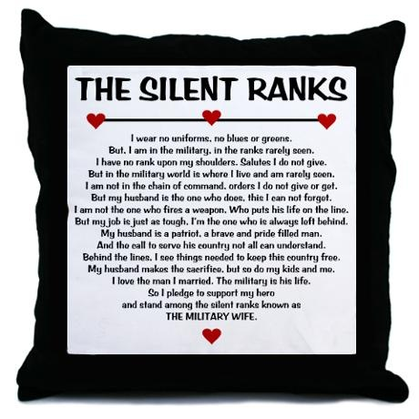 The Silent Ranks Poem Throw Pillow | Poem, Military Wife ...