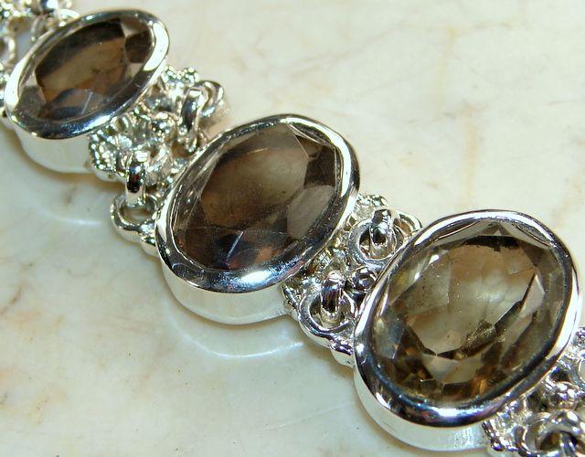 Smoky Topaz Sterling Silver Link Bracelet : Buy Smoky Topaz Jewelry