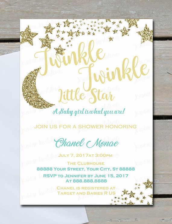 Twinkle Twinkle Little Star Baby Shower InvitationsAny Color