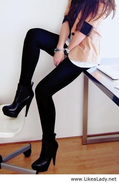 Boots, leggings and blazer combo