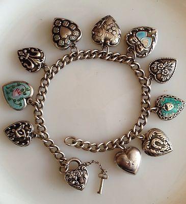Vintage Heart Charm Bracelet Walter Lampl Lock & Key Valentine 1939