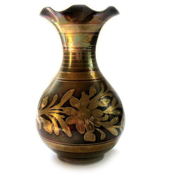 Vintage Etched Brass Vase With Floral Design (u20ac23) ❤ Liked On Polyvore  Featuring