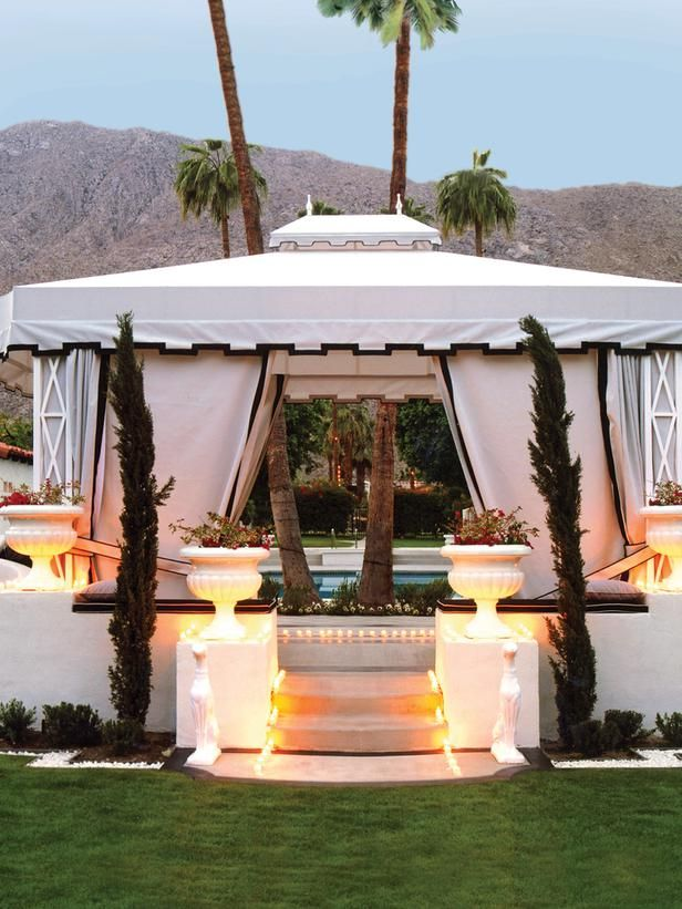 this poolside cabana in palm springs ca provides shade for tired swimmers image courtesy