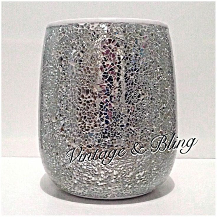 Silver Crackle Mirror Glass Bathroom Sparkle Glitter Bin New Next Day P
