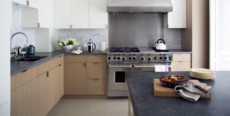 Kitchen With Custom Oak Cabinetry Honed Belgian Bluestone