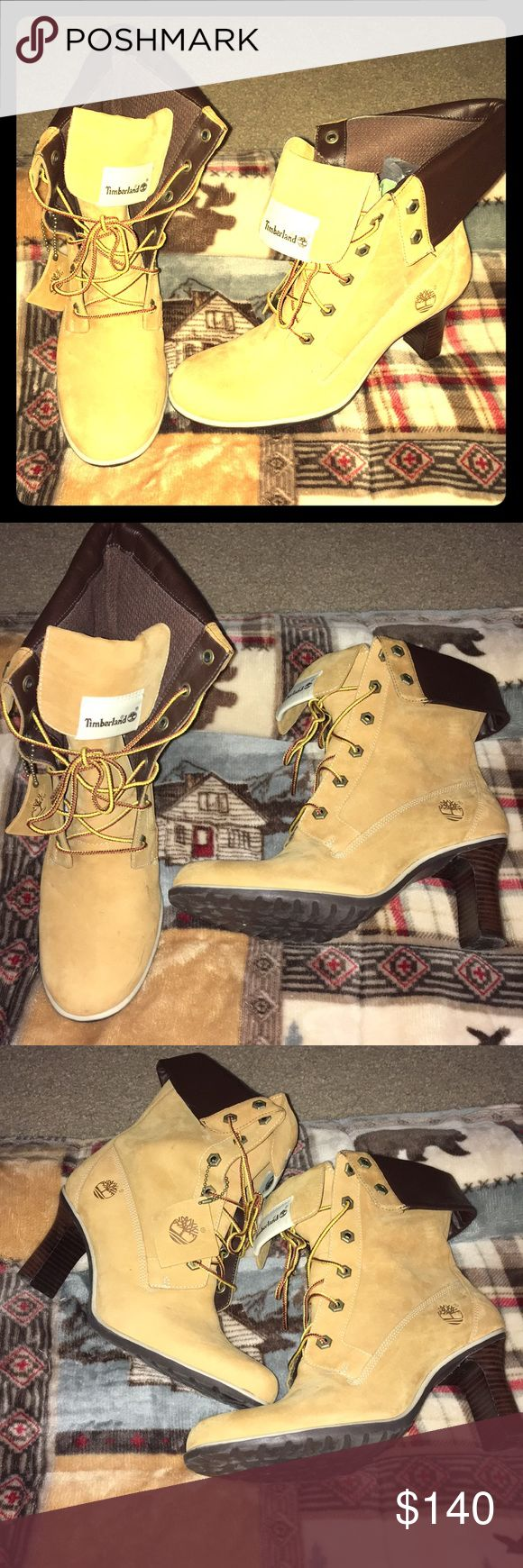 """Timberlands for Women 💅🏾❤️👌🏾 3"""" Timberland Heel Boots 👢😍🙌🏾💯 Wheat Colored, flappy tongue , Timberlands Logo perfect for this Season 💋(Gently used) *Final* Timberland Shoes Heeled Boots"""