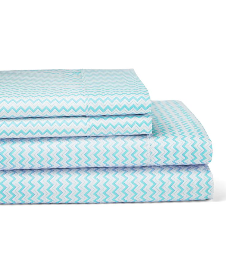 Aqua Chevron Sheet Set