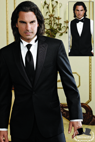 -classic 1 button notch #tuxedo  -shown with 3 button wool vest  www.bernardsformalwear.com #bernardstux