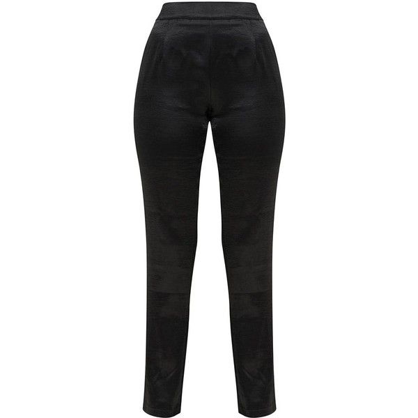 Navy Hammered Satin Trousers (€29) ❤ liked on Polyvore featuring pants, navy blue pants, satin trousers, navy blue trousers, navy pants and navy trousers