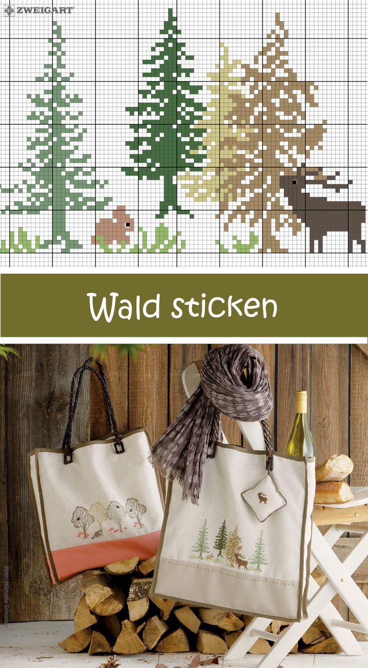 Wald mit Laubbäumen sticken #Sticken #Kreuzstich  #Embroidery #Crossstitch / #forest / #ZWEIGART – Erla Birna Birgis