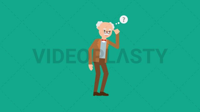 An older professor with gray hair wearing a brown suit is standing with his hands behind his back thinking then points his finger to his head while a question mark appears next to his head Two versions are included: normal (with a start animation) and loopable. The normal version can be extended with the loopable version Clip Length:10 seconds Loopable: Yes Alpha Channel: Yes Resolution:FullHD Format: Quicktime MOV
