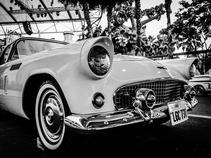 #automobile #automotive #black and white #car #chrome #classic #collectors item #headlight #vehicle #vintage #white side wall