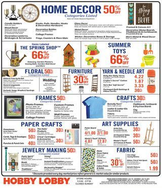 Hobby Lobby Weekly Ad July 9 - 15, 2017 - http://www.olcatalog.com/grocery/hobby-lobby-weekly-ad.html