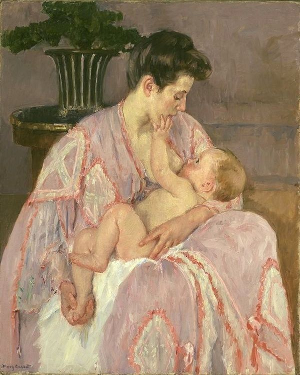 Mary Cassatt Mother Nursing her Child 1906.  Cassatt brought a feminine perspective to impressionism and often depicted images of women in private moments at home.  I particularly love her paintings of women nursing, bathing, and snuggling their children.  The little touches of the child reaching for his mothers face and his mother holding his foot.  Its genuine, not posed...
