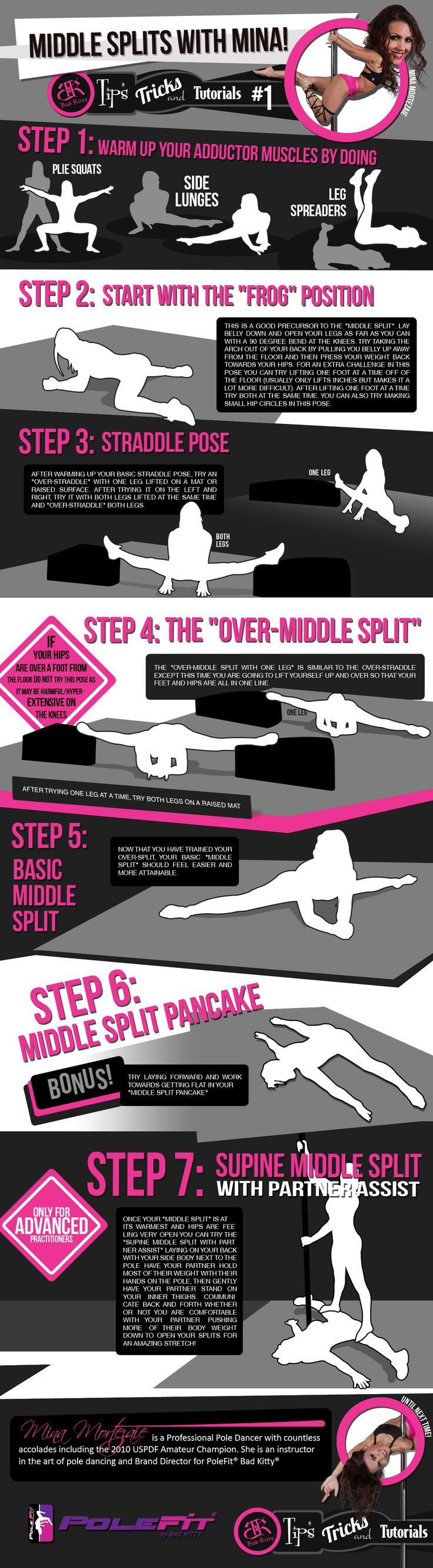 """PoleFit® Tips and Tricks Series: Want to increase your strength and flexibility? We teamed up with the Bad Kitty® Brand Ambassadors to bring you a series of """"Tips and Tricks."""" Tip #1: Middle Splits Flexibilty with Mina Mortezaie. #BadKittyPride #BadKittyBlog"""