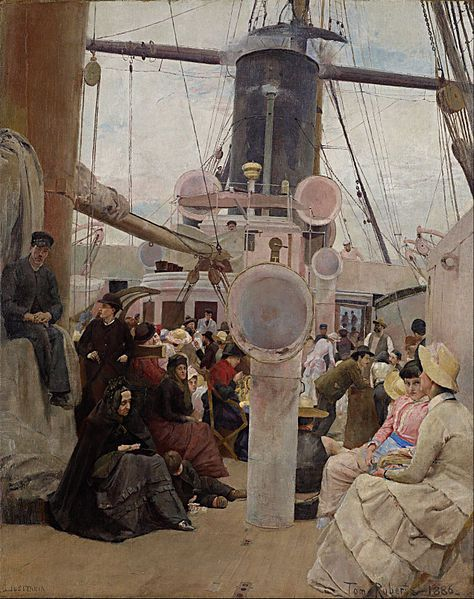 :Tom Roberts - Coming South - Coming South is a 1886 painting by the Australian artist Tom Roberts. The painting depicts migrants coming to Australia from Europe aboard a steamship. Roberts based the painting on sketches he had made when returning to Australia aboard the SS Lusitania in 1885 after four years abroad in Europe.