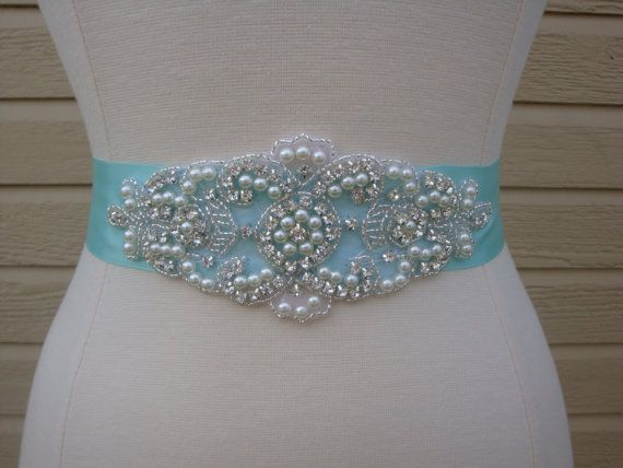 Bridal Sash - Wedding Dress Sash Belt -Tiffany Inspired Aqua Blue Pearl and Rhinestone Sash - Aqua Rhinestone Bridal Sash via Etsy