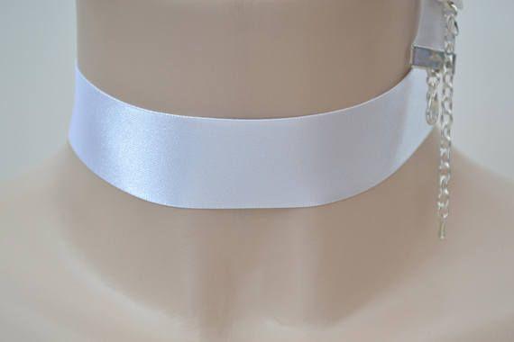 Klassieke PURE witte dubbele satijn 25mm 1 inch lint Choker ketting - wt... of andere kleuren, neem eens een kijkje
