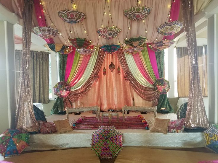 Sangeet Event Decorations   Indian Inspired Backdrop & Hanging Umbrella Canopy at Raja Sweets in Hayward, CA.