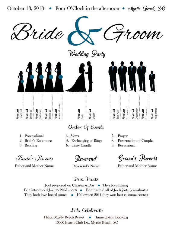 "Wedding Program Silhouette  Would add ""explanation of how they know bride/groom"" along with place (Maid of honor/Sister) to the bridal party and groomsmen."