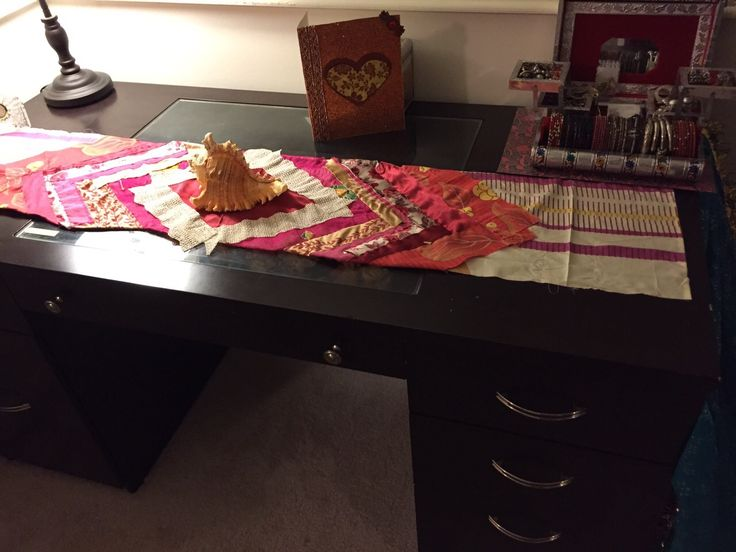 Table Runner made with waste pieces of cloth.
