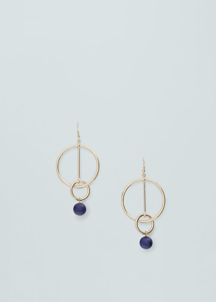 Boucles d'oreilles pendentif perles | MANGO