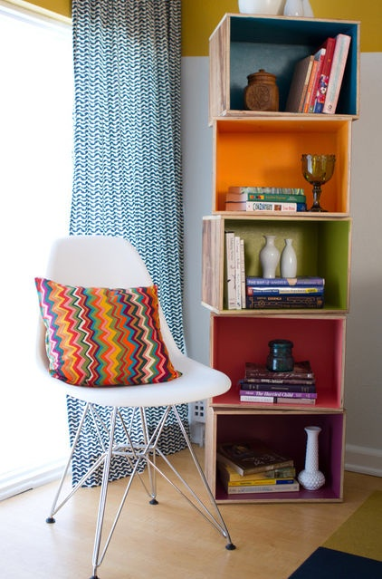 You see this one is described as teen decor.   Don't like cushion or curtains, but idea of boxes is fun (although the colours are a little too muted).