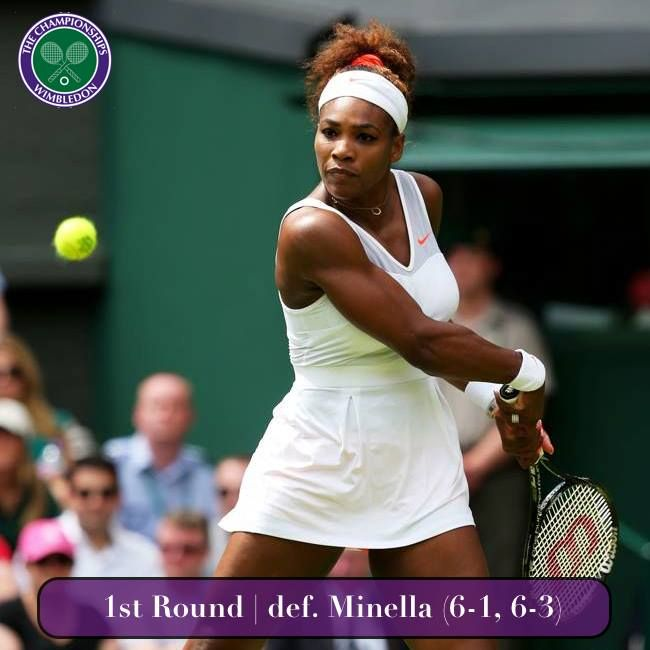Via Serena Williams News  · June 25   (1) Serena Williams defeated Mandy Minella (6-1, 6-3) in the 1st round of The Championships Wimbledon. #TeamSerena