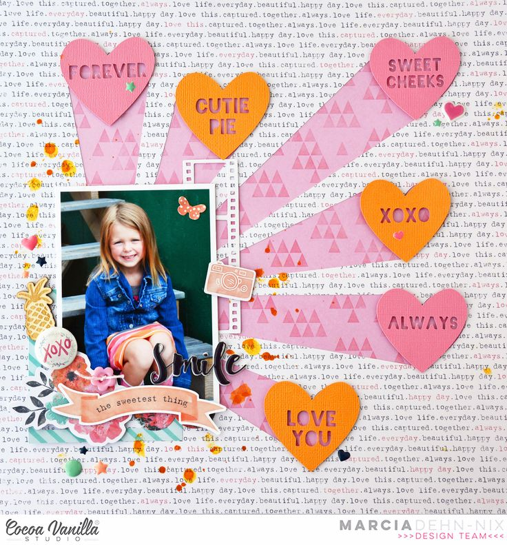 Smile - Cocoa Vanilla Studios Free Spirit collection and JustNick Candy Hearts digital cut file. Valentine scrapbook layout.