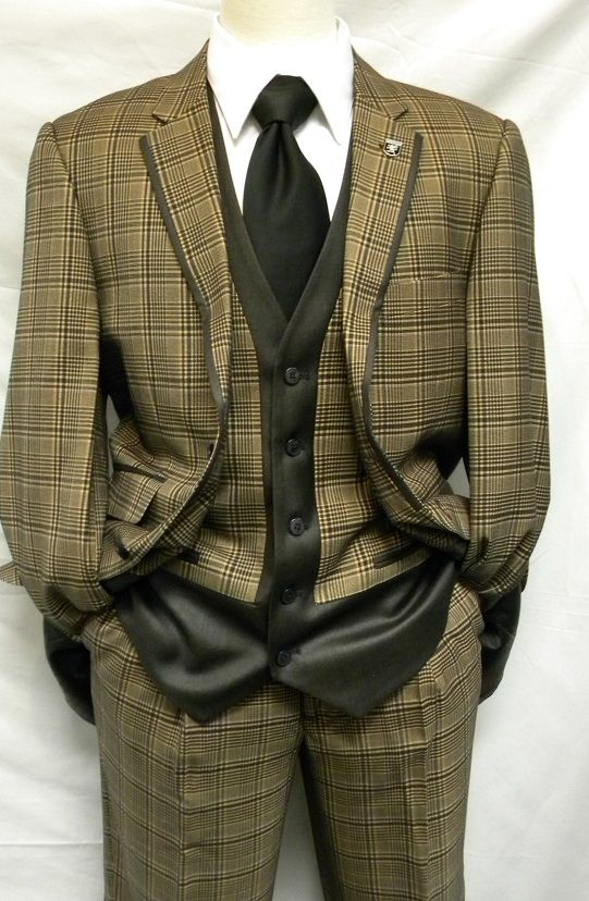Stacy Adams 1920s Style Ego Vested Brown Plaid 4 Piece
