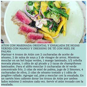 RECETA DE ATÚN CON MARINADA ORIENTAL Y ENSALADA CON DRESSING DE TÉ CON MIEL DE PALMA