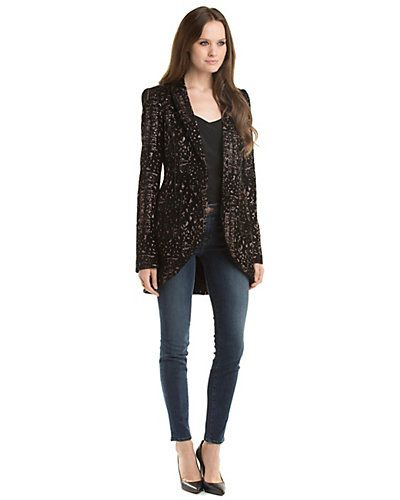 """Rachel Zoe """"Kenny"""" Black & Bronze Abstract Jacquard Jacket - if only it was in camel..."""