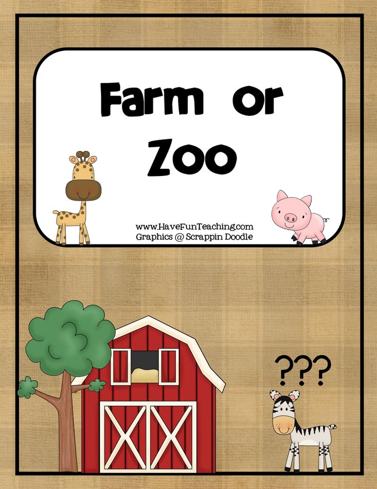 Farm or Zoo Matching Activity Farm animals games, Animal