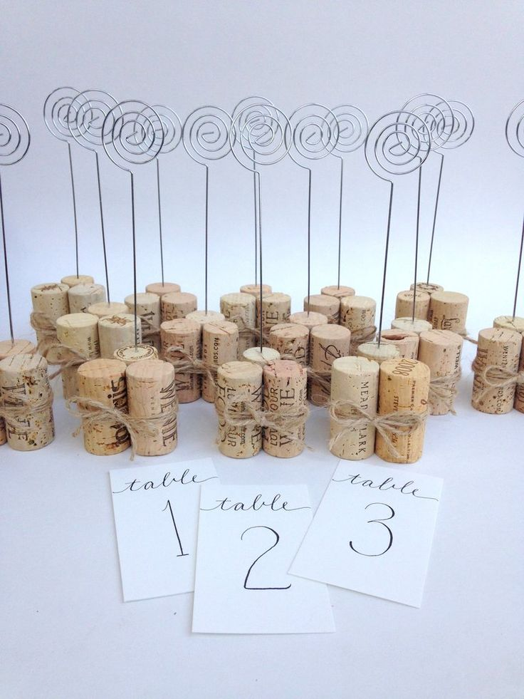 Table Number Holder Or Sign With Rustic Jute Twine