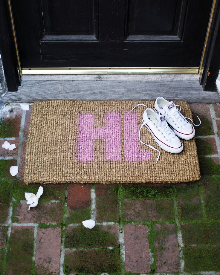Make your own spray painted doormat with the help of Adriane Adarme's new book, The Year of Cozy.
