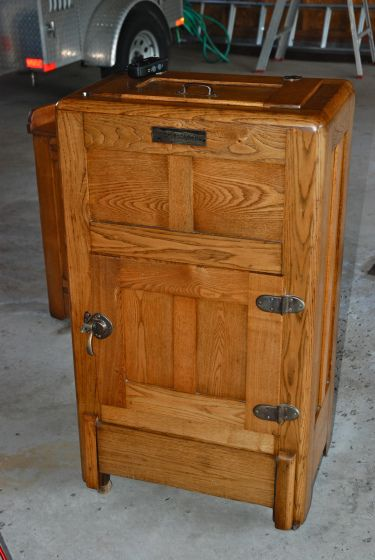 Antique Oak Ice Box Refrigerator Kegerator Keezer