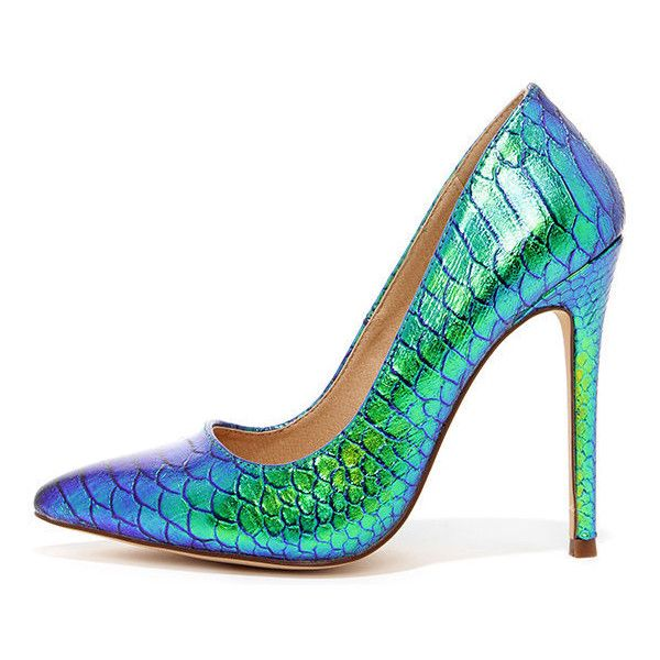 Ladies First Green Hologram Pointed Pumps (£20) ❤ liked on Polyvore featuring shoes, pumps, heels, green, snakeskin pumps, heels stilettos, green pumps, high heel shoes and pointy-toe pumps