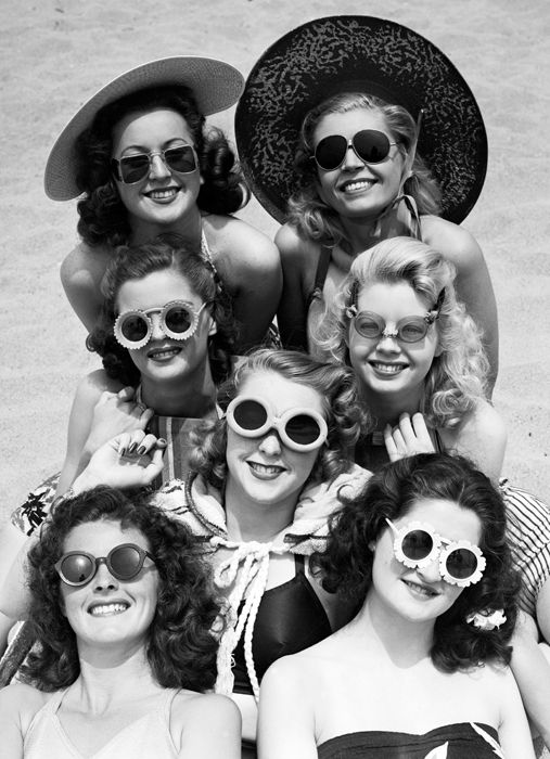 TROWBRIDGE - Black and White Archive - Sunglasses- Venice, California June 24, 1941- Betty Walter, Marjorie Moore, Bonita Edwards, Mary Stader. Center and top: Kay Davis, Louis Davis and Maurine Maguire.