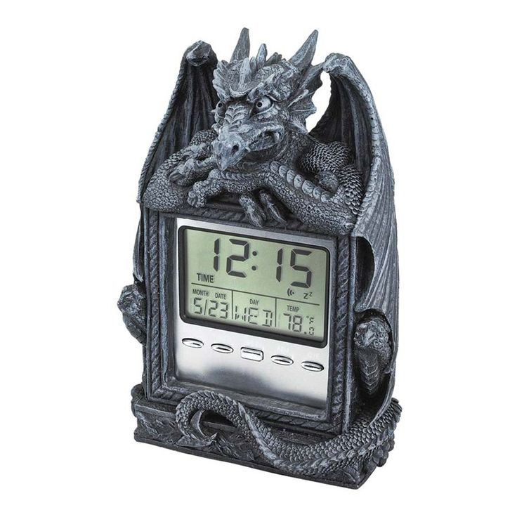 Park Avenue Collection Dragons Time Lcd Alarm Clock