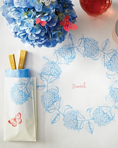Stamped Paper Tablecloth for Summer - Martha Stewart Entertaining Crafts