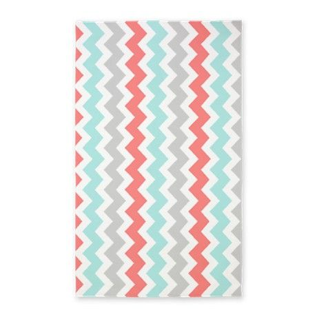 Coral Aqua Grey Chevron Pattern 3'x5' Area Rug $88 this would go perfect with Brielle's room