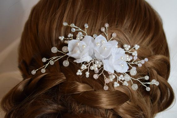 Wedding hair piece with Rose Quartz Wedding by Mkedesignwedding