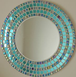 Mosaico hecho a mano hermoso espejo biselado borde azul